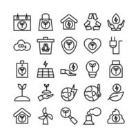 Ecology icon set vector line for website mobile app presentation social media Suitable for user interface and user experience