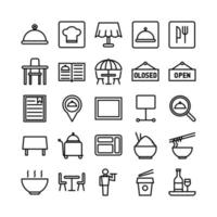 Restaurant icon set vector line for website mobile app presentation social media Suitable for user interface and user experience