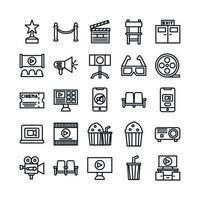 conjunto de iconos de cine línea vectorial para la presentación de la aplicación móvil del sitio web redes sociales adecuadas para la interfaz de usuario y la experiencia del usuario vector