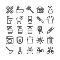 Cleaning icon set vector line for website mobile app presentation social media Suitable for user interface and user experience
