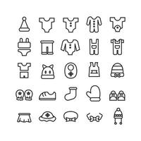 Baby Clothes icon set vector line for website mobile app presentation social media Suitable for user interface and user experience