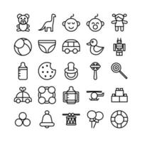 Baby Toys icon set vector line for website mobile app presentation social media Suitable for user interface and user experience