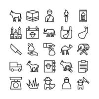 Qurban icon set icon set vector line for website mobile app presentation social media Suitable for user interface and user experience