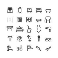 Hotel icon set vector line for website mobile app presentation social media Suitable for user interface and user experience