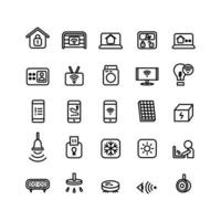 Smart Home icon set vector line for website mobile app presentation social media Suitable for user interface and user experience