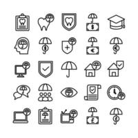 Insurance icon set vector line for website mobile app presentation social media Suitable for user interface and user experience