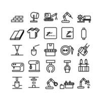 Manufacture icon set vector line for website mobile app presentation social media Suitable for user interface and user experience