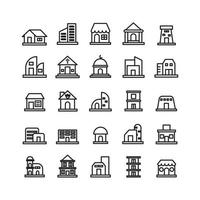Building icon set vector line for website mobile app presentation social media Suitable for user interface and user experience