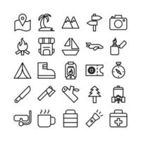 Adventure icon set vector line for website mobile app presentation social media Suitable for user interface and user experience