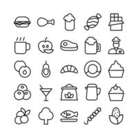 Food icon set vector line for website mobile app presentation social media Suitable for user interface and user experience