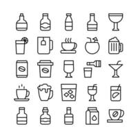 Beverage icon set vector line for website mobile app presentation social media Suitable for user interface and user experience