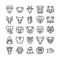 Zoo icon set vector line for website mobile app presentation social media Suitable for user interface and user experience
