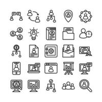 Human Resource icon set vector line for website mobile app presentation social media Suitable for user interface and user experience