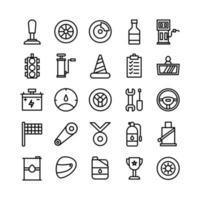 icono de carreras conjunto de línea vectorial para la presentación de la aplicación móvil del sitio web en las redes sociales adecuadas para la interfaz de usuario y la experiencia del usuario vector