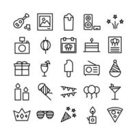 Party icon set vector line for website mobile app presentation social media Suitable for user interface and user experience