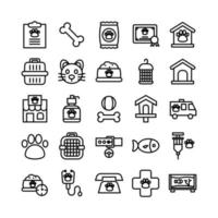 Veterinarian icon set vector line for website mobile app presentation social media Suitable for user interface and user experience