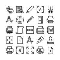 Printing icon set vector line for website mobile app presentation social media Suitable for user interface and user experience
