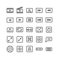 Video Player icon set vector line for website mobile app presentation social media Suitable for user interface and user experience