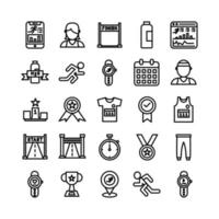 Running icon set vector line for website mobile app presentation social media Suitable for user interface and user experience