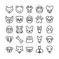 Animal icon set vector line for website mobile app presentation social media Suitable for user interface and user experience