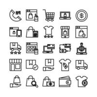 Ecommerce icon set vector line for website mobile app presentation social media Suitable for user interface and user experience