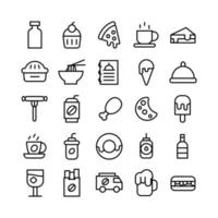 Fast Food icon set vector line for website mobile app presentation social media Suitable for user interface and user experience