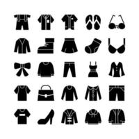 Fashion icon set vector solid for website mobile app presentation social media Suitable for user interface and user experience