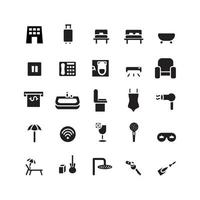 Hotel icon set vector solid for website mobile app presentation social media Suitable for user interface and user experience