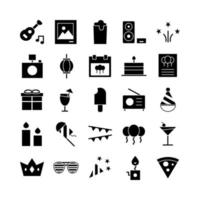 Party icon set vector solid for website mobile app presentation social media Suitable for user interface and user experience