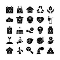 Ecology icon set vector solid for website mobile app presentation social media Suitable for user interface and user experience