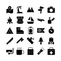 Adventure icon set vector solid for website mobile app presentation social media Suitable for user interface and user experience