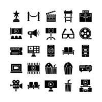 conjunto de iconos de cine vector sólido para presentación de aplicaciones móviles de sitios web redes sociales adecuadas para la interfaz de usuario y la experiencia del usuario