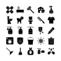 Cleaning icon set vector solid for website mobile app presentation social media Suitable for user interface and user experience