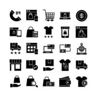 Ecommerce icon set vector solid for website mobile app presentation social media Suitable for user interface and user experience