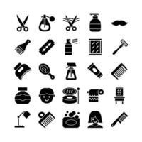 conjunto de iconos de peluquero sólido vectorial para la presentación de la aplicación móvil del sitio web redes sociales adecuadas para la interfaz de usuario y la experiencia del usuario vector