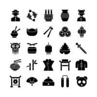 Chinese icon set vector solid for website mobile app presentation social media Suitable for user interface and user experience