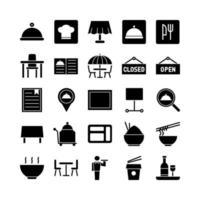 Restaurant icon set vector solid for website mobile app presentation social media Suitable for user interface and user experience