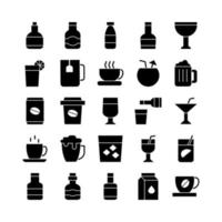 Beverage icon set vector solid for website mobile app presentation social media Suitable for user interface and user experience