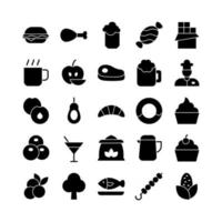 Food icon set vector solid for website mobile app presentation social media Suitable for user interface and user experience