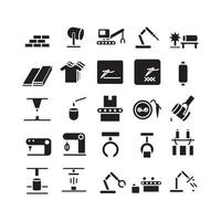 Manufacture icon set vector solid for website mobile app presentation social media Suitable for user interface and user experience