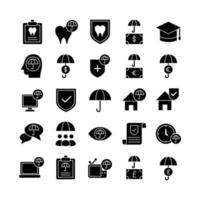 Insurance icon set vector solid for website mobile app presentation social media Suitable for user interface and user experience