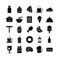 Fast Food icon set vector solid for website mobile app presentation social media Suitable for user interface and user experience