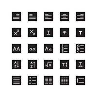 Text Editor icon set vector solid for website mobile app presentation social media Suitable for user interface and user experience
