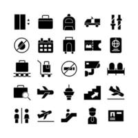 Airport icon set vector solid for website mobile app presentation social media Suitable for user interface and user experience