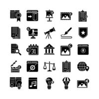 Copyright icon set vector solid for website mobile app presentation social media Suitable for user interface and user experience