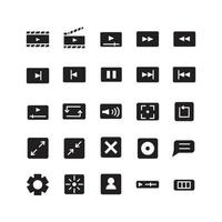 Video Player icon set vector solid for website mobile app presentation social media Suitable for user interface and user experience