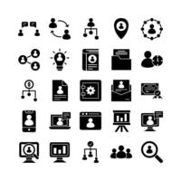 Human Resource icon set vector solid for website mobile app presentation social media Suitable for user interface and user experience