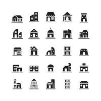 Building icon set vector solid for website mobile app presentation social media Suitable for user interface and user experience