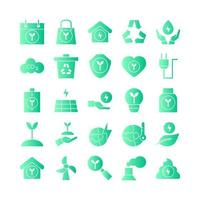 Ecology icon set vector gradient for website mobile app presentation social media Suitable for user interface and user experience
