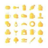 Food icon set vector gradient for website mobile app presentation social media Suitable for user interface and user experience